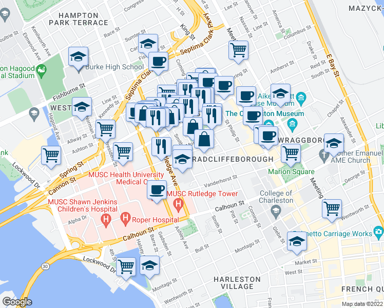 map of restaurants, bars, coffee shops, grocery stores, and more near 13 Marion Street in Charleston