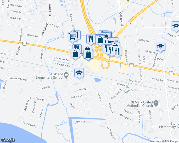 map of restaurants, bars, coffee shops, grocery stores, and more near 2039 Rondo Street in Charleston