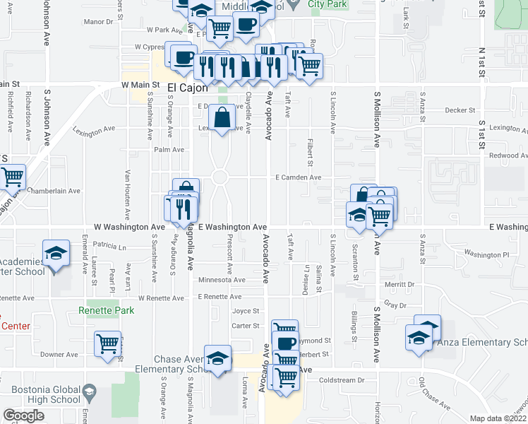 map of restaurants, bars, coffee shops, grocery stores, and more near 660 Avocado Avenue in El Cajon