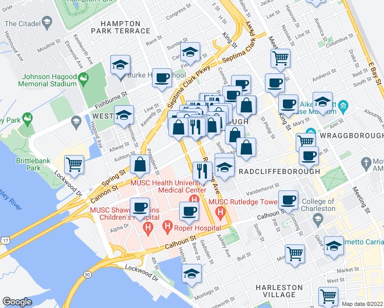 map of restaurants, bars, coffee shops, grocery stores, and more near 111 Cannon Street in Charleston