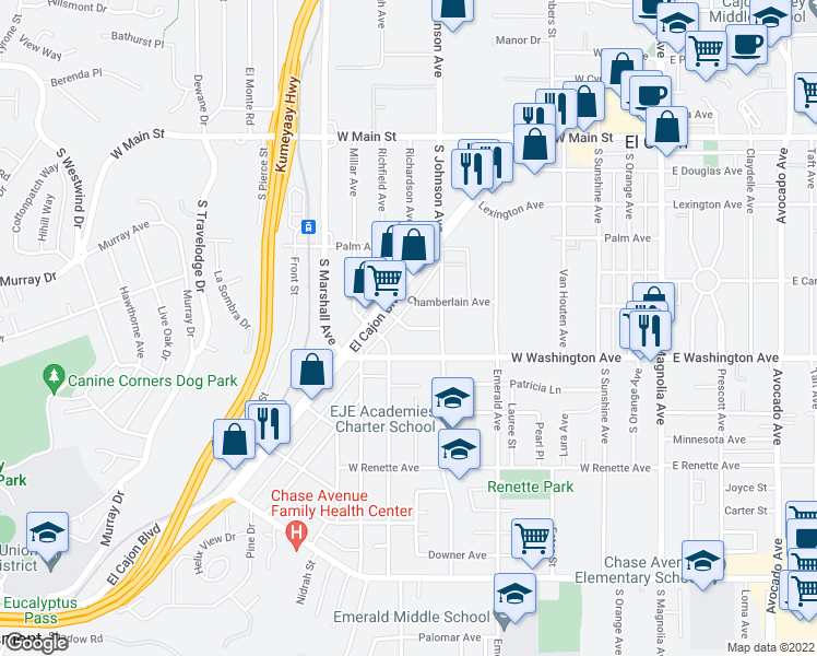 map of restaurants, bars, coffee shops, grocery stores, and more near 725 Franklin Avenue in El Cajon