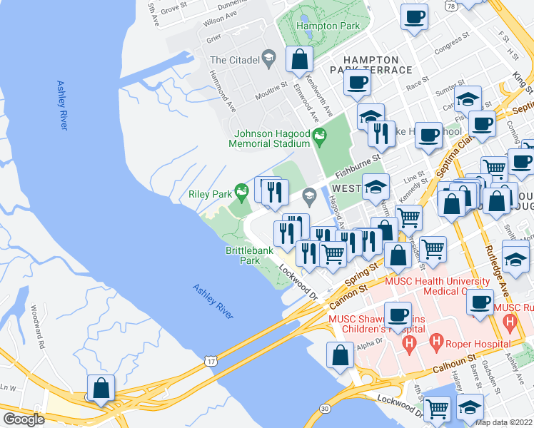map of restaurants, bars, coffee shops, grocery stores, and more near 99 Westedge Street in Charleston