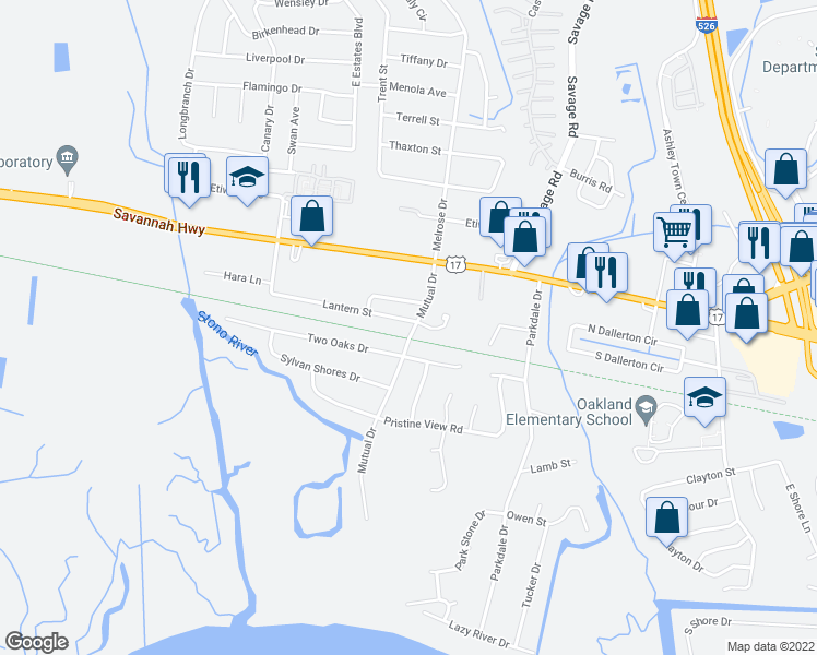 map of restaurants, bars, coffee shops, grocery stores, and more near 2387 Lantern Street in Charleston