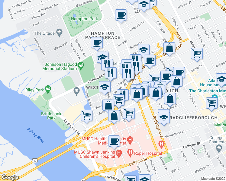 map of restaurants, bars, coffee shops, grocery stores, and more near 194 President Street in Charleston