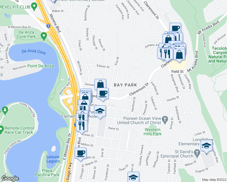 map of restaurants, bars, coffee shops, grocery stores, and more near 2745 Erie Street in San Diego