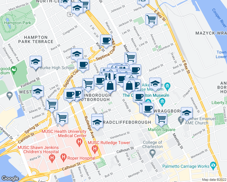 map of restaurants, bars, coffee shops, grocery stores, and more near 28 Cannon Street in Charleston