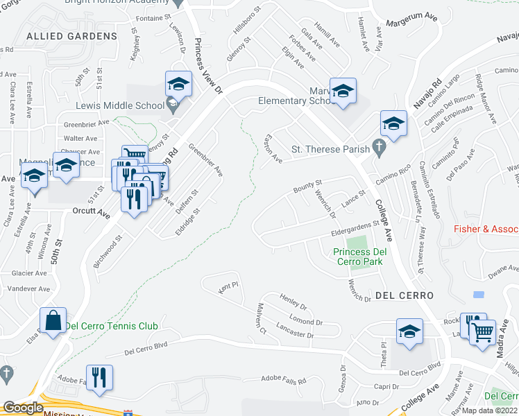 map of restaurants, bars, coffee shops, grocery stores, and more near 5706 Bounty Street in San Diego