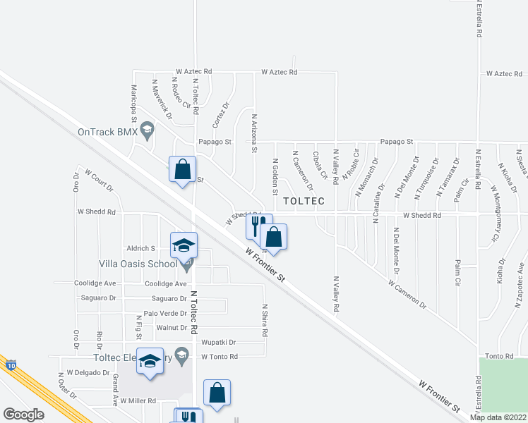 map of restaurants, bars, coffee shops, grocery stores, and more near 3900 West Shira Street in Eloy
