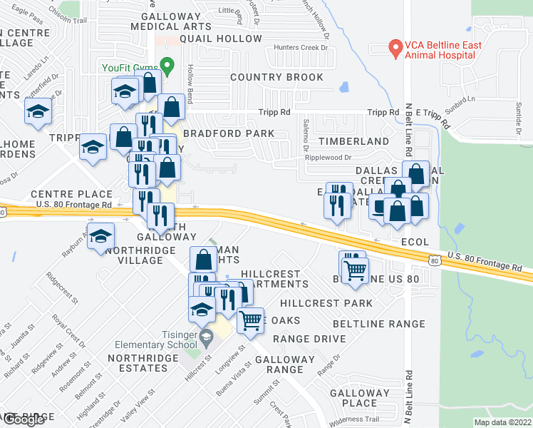 map of restaurants, bars, coffee shops, grocery stores, and more near 680 Highway 80 East in Mesquite