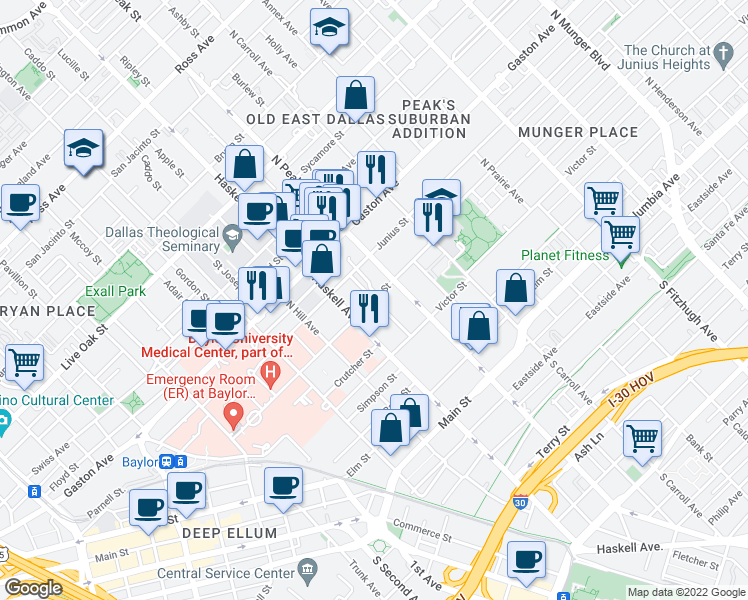 map of restaurants, bars, coffee shops, grocery stores, and more near Worth St & Josephine St in Dallas