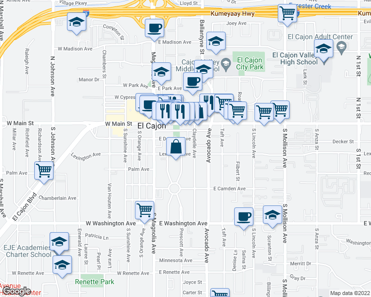 map of restaurants, bars, coffee shops, grocery stores, and more near 250 Lexington in El Cajon