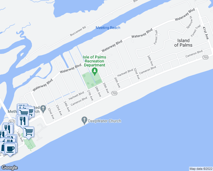map of restaurants, bars, coffee shops, grocery stores, and more near 10 29th Avenue in Isle of Palms