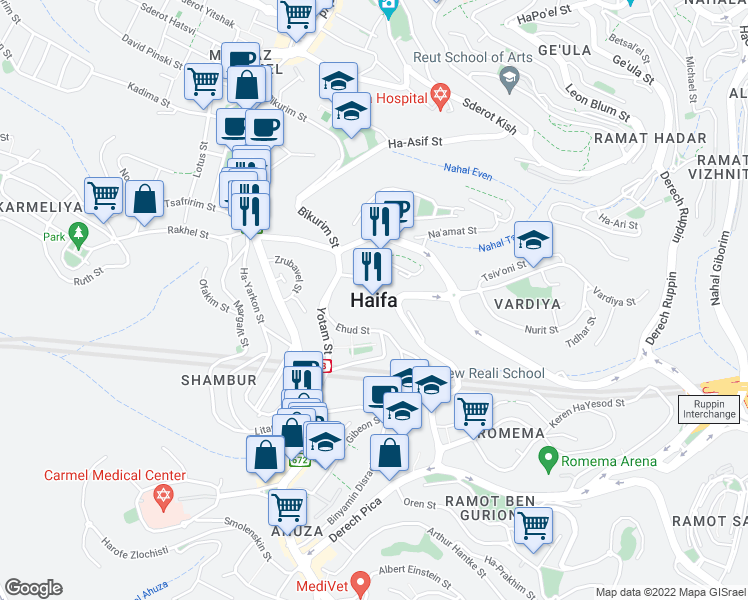 map of restaurants, bars, coffee shops, grocery stores, and more near in Haifa