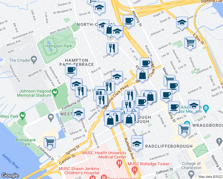 map of restaurants, bars, coffee shops, grocery stores, and more near 145 Fishburne Street in Charleston