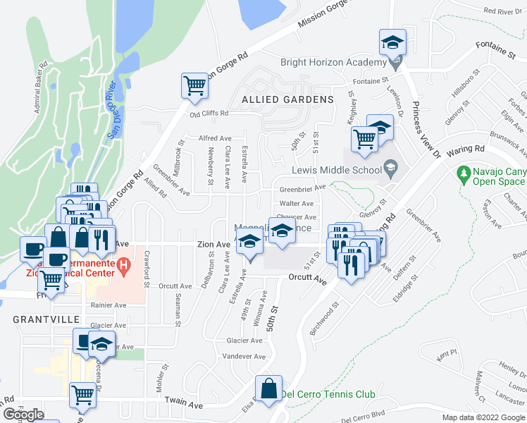 map of restaurants, bars, coffee shops, grocery stores, and more near 6725 Greenbrier Ct in San Diego