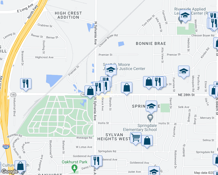 map of restaurants, bars, coffee shops, grocery stores, and more near 2724 Kimbo Road in Fort Worth