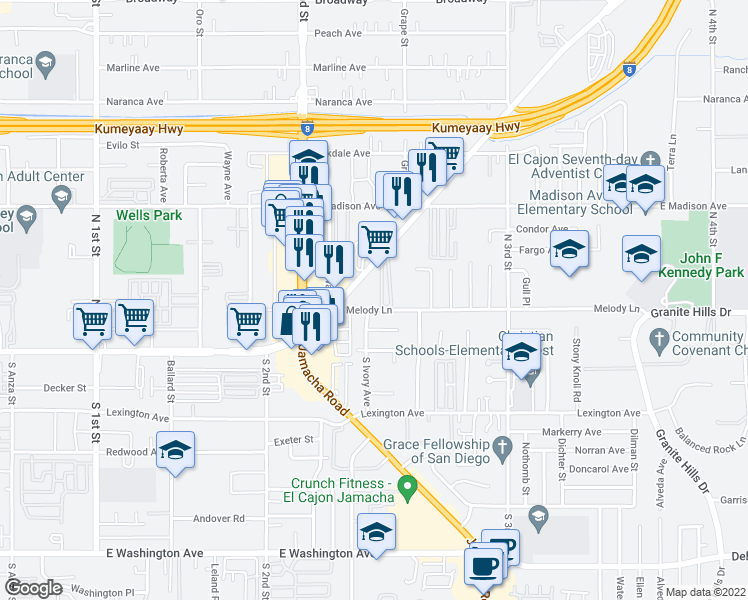 map of restaurants, bars, coffee shops, grocery stores, and more near 1360 Melody Ln in El Cajon