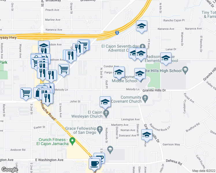 map of restaurants, bars, coffee shops, grocery stores, and more near 219 Gull Place in El Cajon