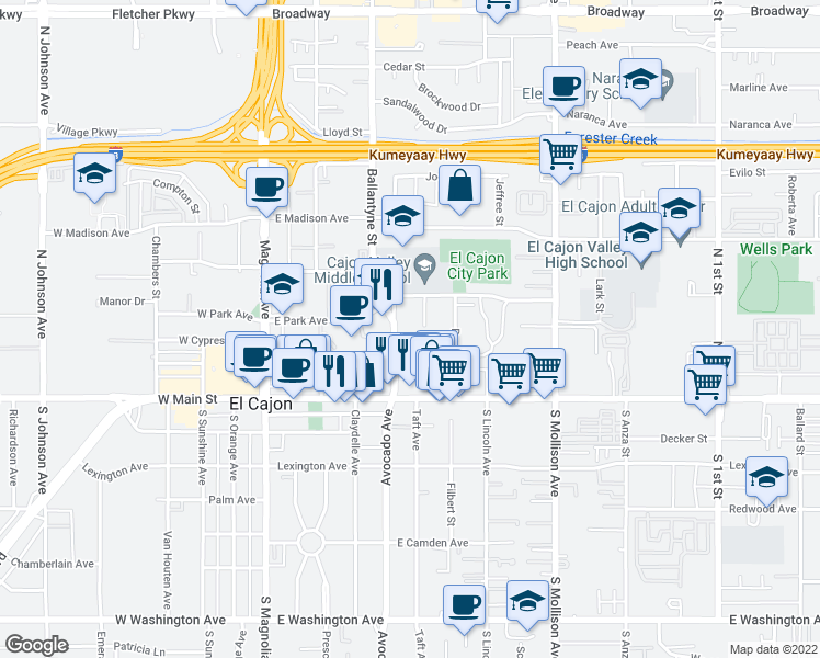 map of restaurants, bars, coffee shops, grocery stores, and more near 275 Ballantyne Street in El Cajon