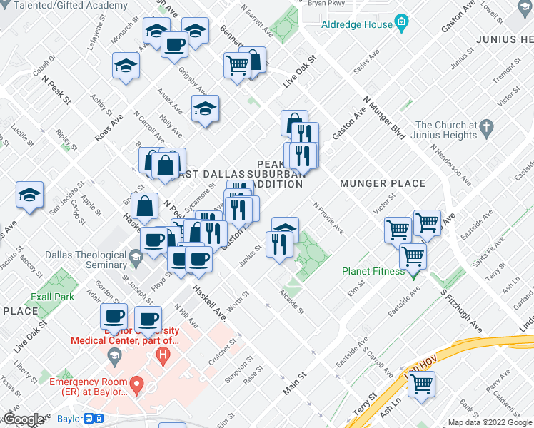 map of restaurants, bars, coffee shops, grocery stores, and more near 4600 Gaston Avenue in Dallas