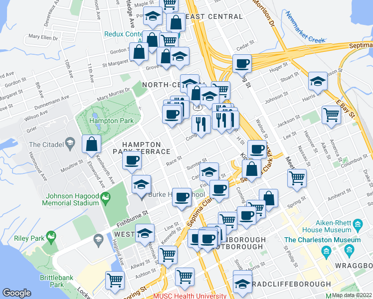 map of restaurants, bars, coffee shops, grocery stores, and more near 5 Carondolet Street in Charleston
