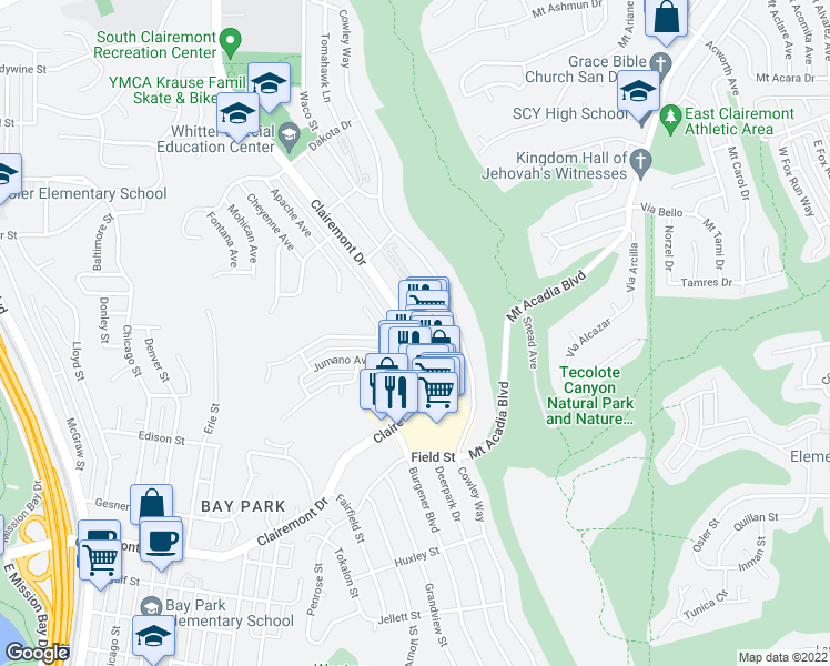 map of restaurants, bars, coffee shops, grocery stores, and more near Clairemont Drive & Iroquois Avenue in San Diego
