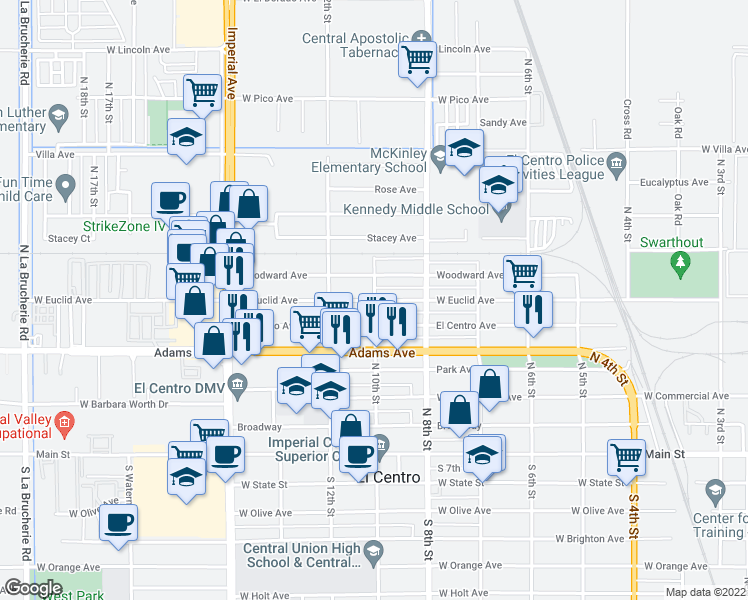 map of restaurants, bars, coffee shops, grocery stores, and more near 998 West Euclid Avenue in El Centro