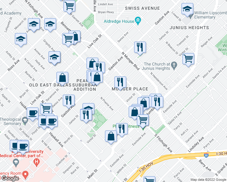 map of restaurants, bars, coffee shops, grocery stores, and more near N Fitzhugh Ave & Worth St in Dallas