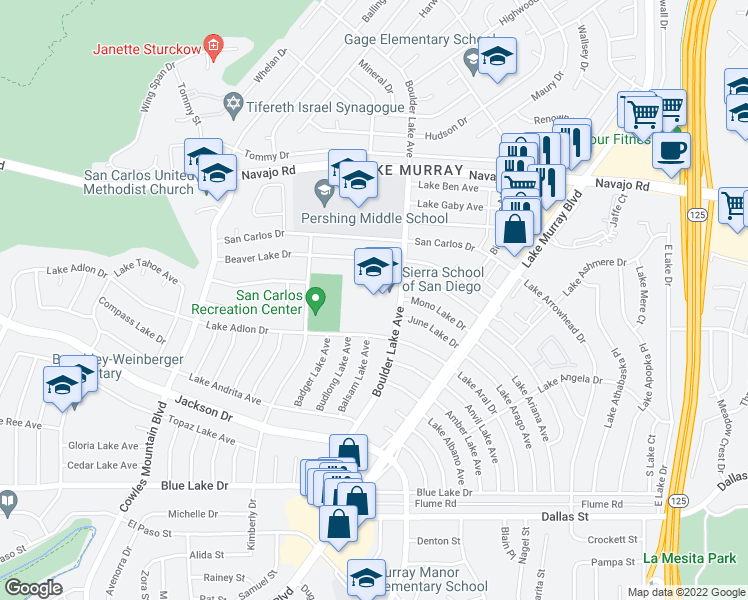 map of restaurants, bars, coffee shops, grocery stores, and more near 8221 Beaver Lake Dr in San Diego