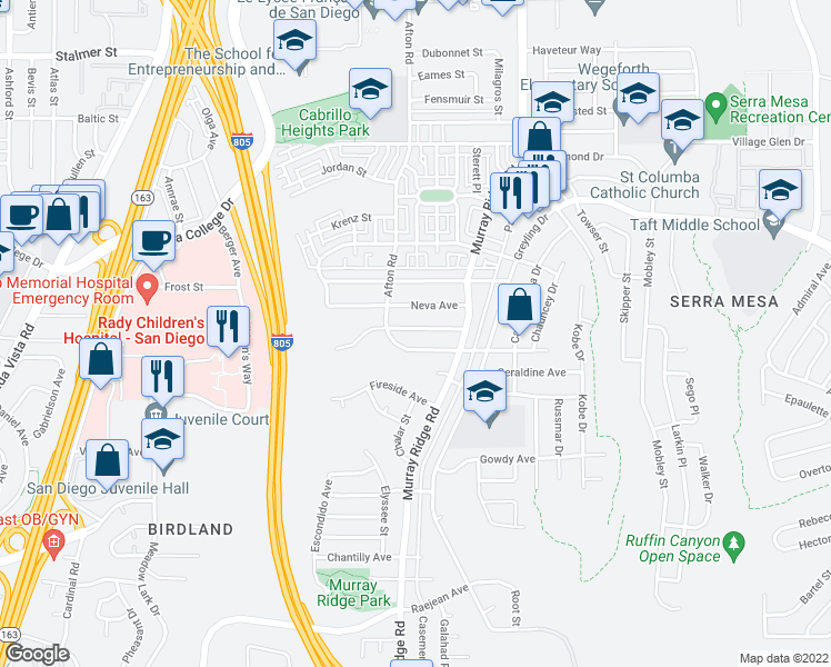 map of restaurants, bars, coffee shops, grocery stores, and more near 8551 Onalaska Avenue in San Diego