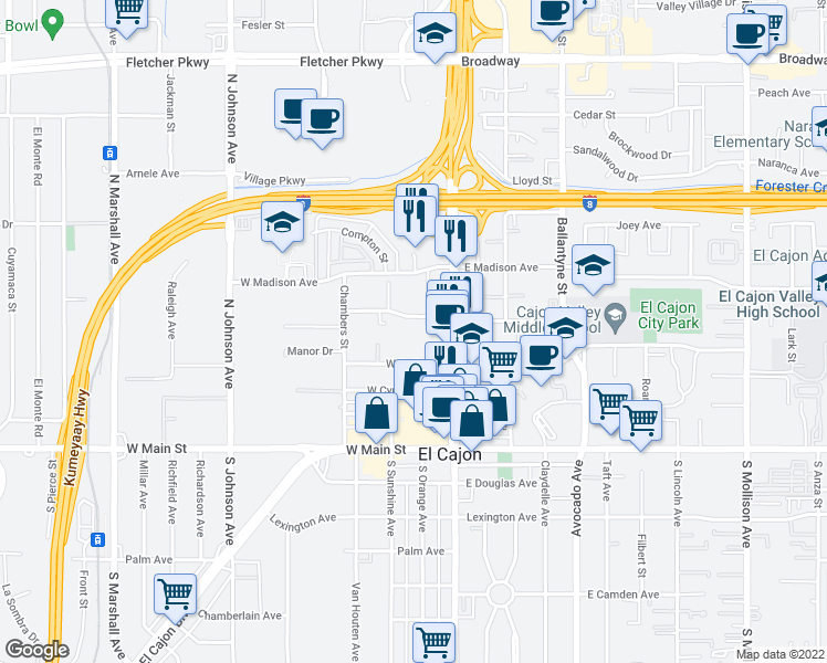 map of restaurants, bars, coffee shops, grocery stores, and more near 241 Wisconsin Avenue in El Cajon