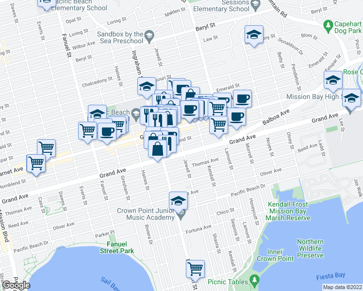 map of restaurants, bars, coffee shops, grocery stores, and more near 1703 Hornblend Street in San Diego