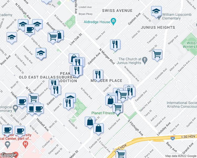 map of restaurants, bars, coffee shops, grocery stores, and more near 4920 Worth St in Dallas
