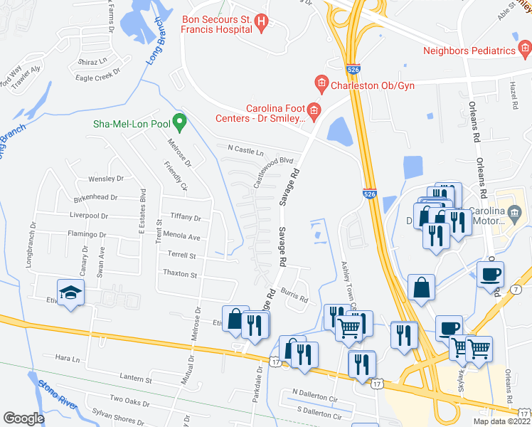 map of restaurants, bars, coffee shops, grocery stores, and more near 885 Castlewood Boulevard in Charleston
