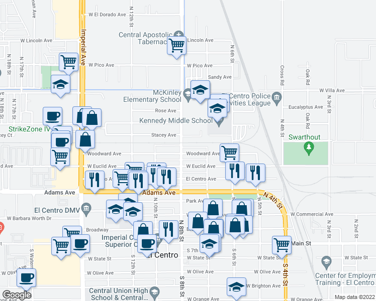 map of restaurants, bars, coffee shops, grocery stores, and more near 772 Woodward Avenue in El Centro