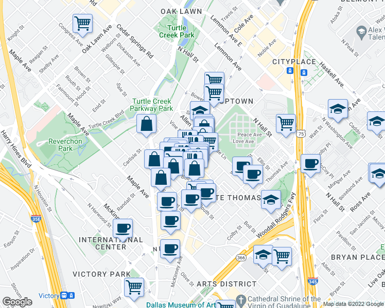 map of restaurants, bars, coffee shops, grocery stores, and more near 2717 Howell Street in Dallas
