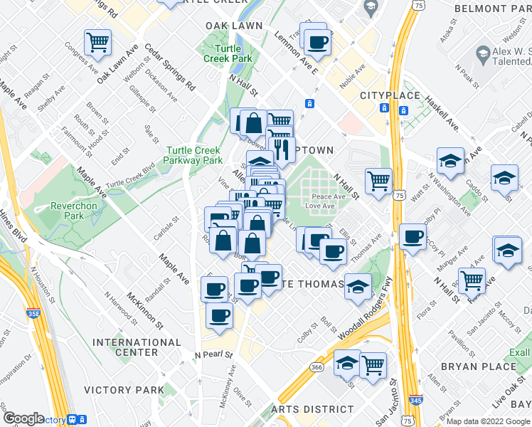 map of restaurants, bars, coffee shops, grocery stores, and more near 3400 Howell Street in Dallas