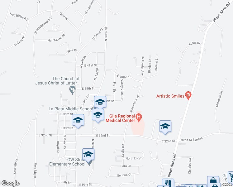 map of restaurants, bars, coffee shops, grocery stores, and more near 3712 Fran Drive in Silver City