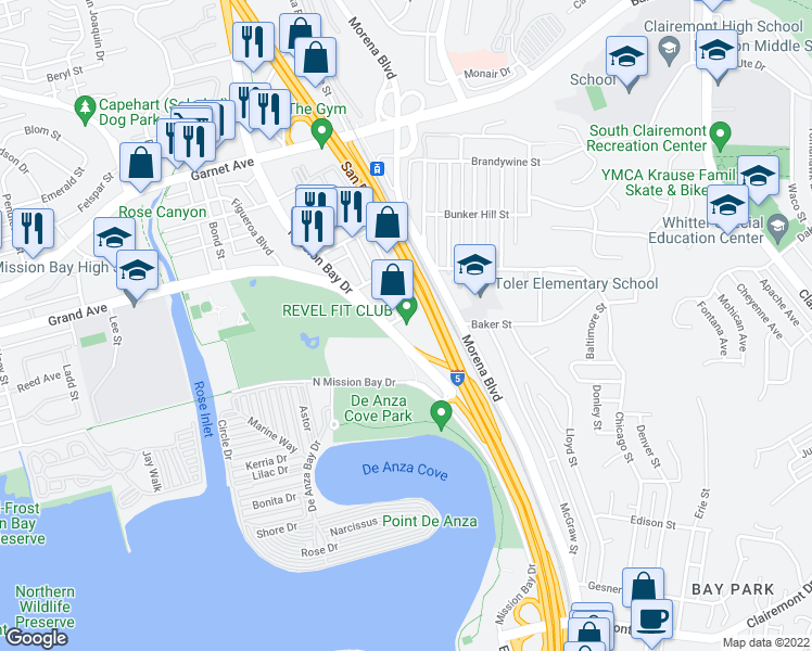 map of restaurants, bars, coffee shops, grocery stores, and more near 4275 Mission Bay Drive in San Diego