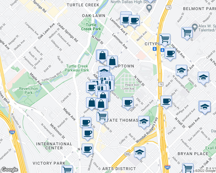 map of restaurants, bars, coffee shops, grocery stores, and more near 126 Howell Street in Dallas