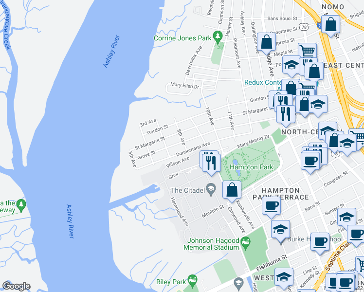 map of restaurants, bars, coffee shops, grocery stores, and more near 9 8th Avenue in Charleston