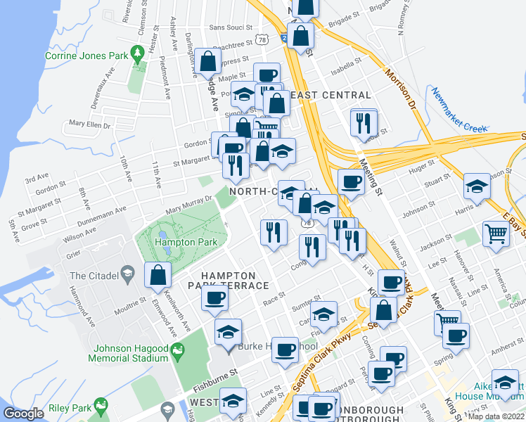 map of restaurants, bars, coffee shops, grocery stores, and more near 19 Maverick Street in Charleston