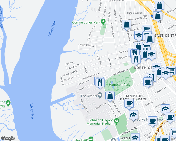 map of restaurants, bars, coffee shops, grocery stores, and more near 268 Grove Street in Charleston
