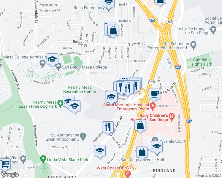 map of restaurants, bars, coffee shops, grocery stores, and more near 7434 Mesa College Drive in San Diego