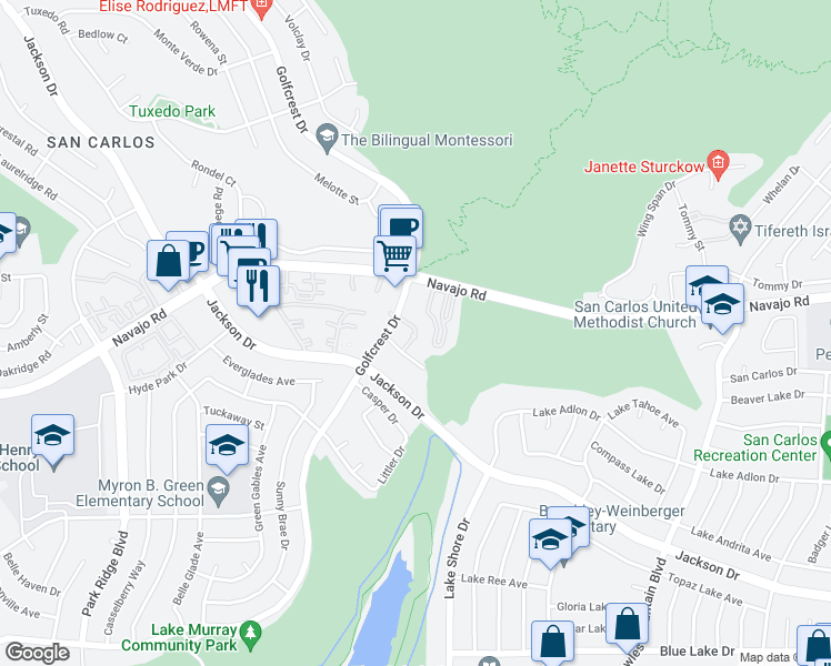 map of restaurants, bars, coffee shops, grocery stores, and more near 6975 Golfcrest Drive in San Diego