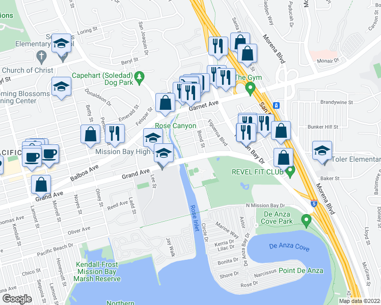 map of restaurants, bars, coffee shops, grocery stores, and more near 2636 Grand Avenue in San Diego