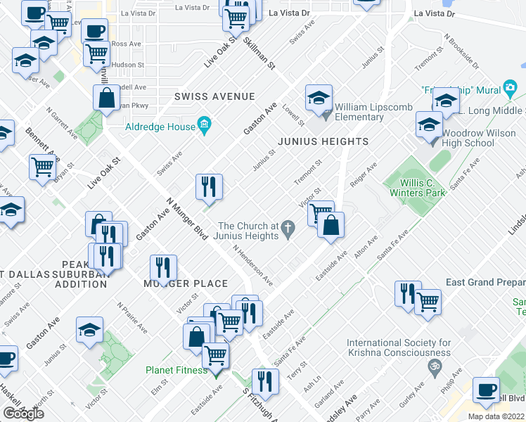 map of restaurants, bars, coffee shops, grocery stores, and more near Tremont Street in Dallas