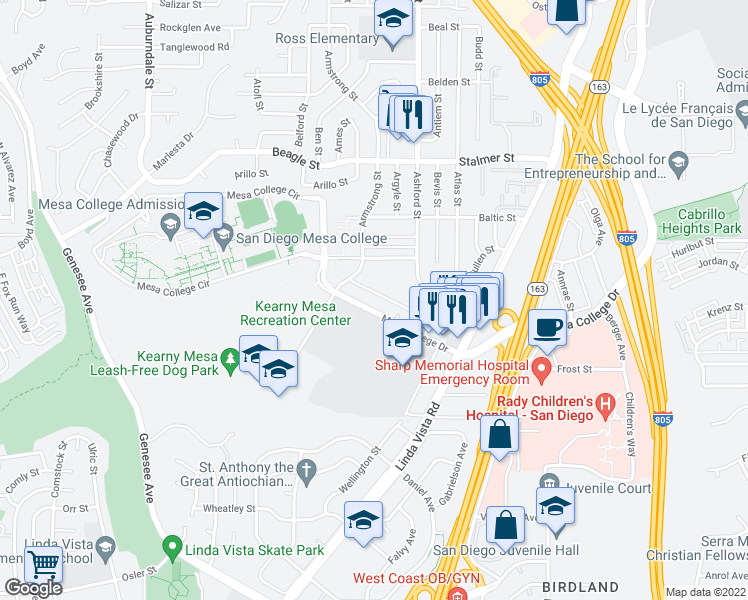 map of restaurants, bars, coffee shops, grocery stores, and more near 3235 Armstrong Street in San Diego