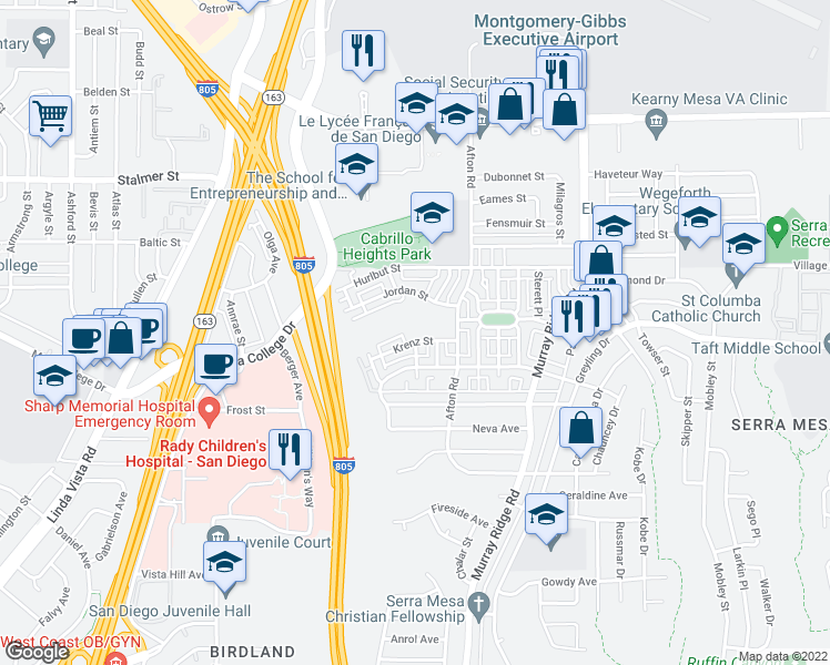 map of restaurants, bars, coffee shops, grocery stores, and more near 8420 Krenz Street in San Diego