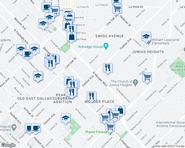 map of restaurants, bars, coffee shops, grocery stores, and more near 5121 Gaston Avenue in Dallas